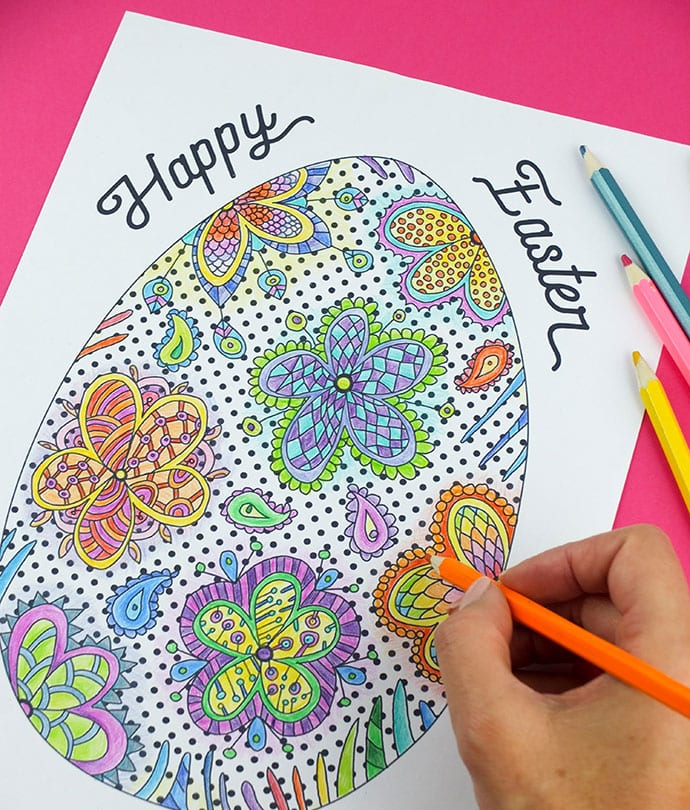 Easter egg zentangle coloring page printable - mypoppet.com.au