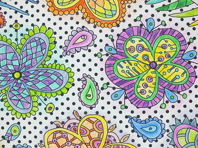 Detail - Easter floral colouring page
