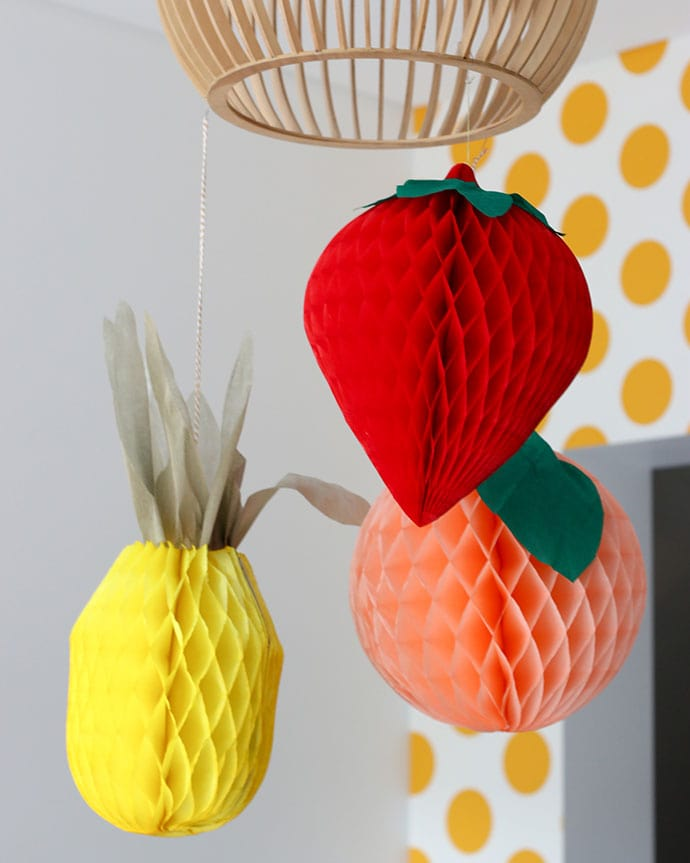DIY Tissue paper Fruit Party decorations
