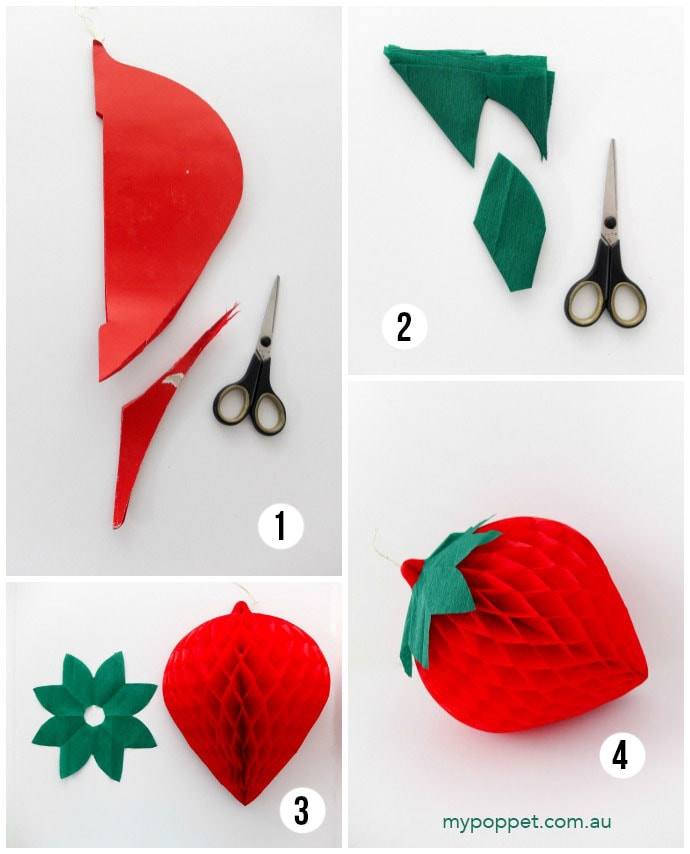 Make strawberry party decorations - mypoppet.com.au