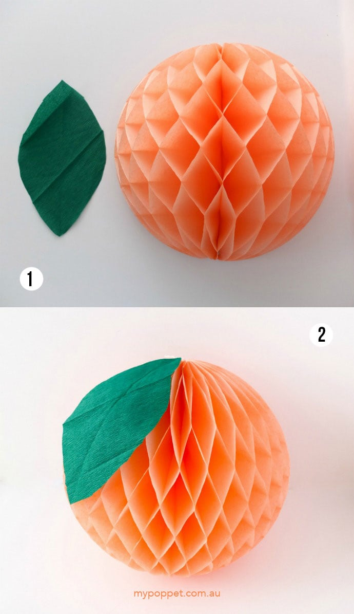 How to make a tissue paper peach decoration. mypoppet.com .au