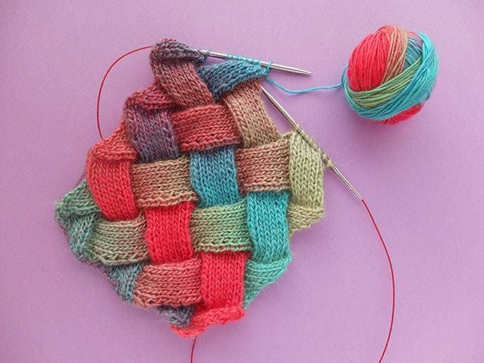entrelac knitting scarf