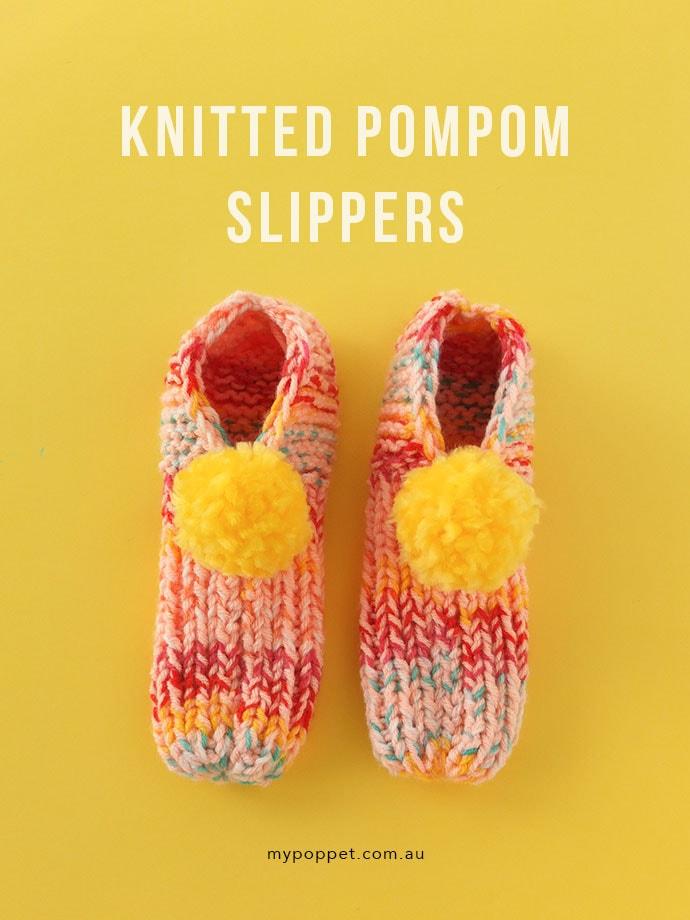 Knitted Pom Pom Slippers | My Poppet Makes