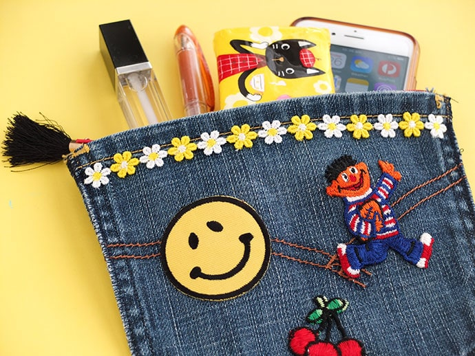 Upcycle Craft: Portable Pocket Pouch - Make a purse from old denim jean pockets - mypoppet.com.au