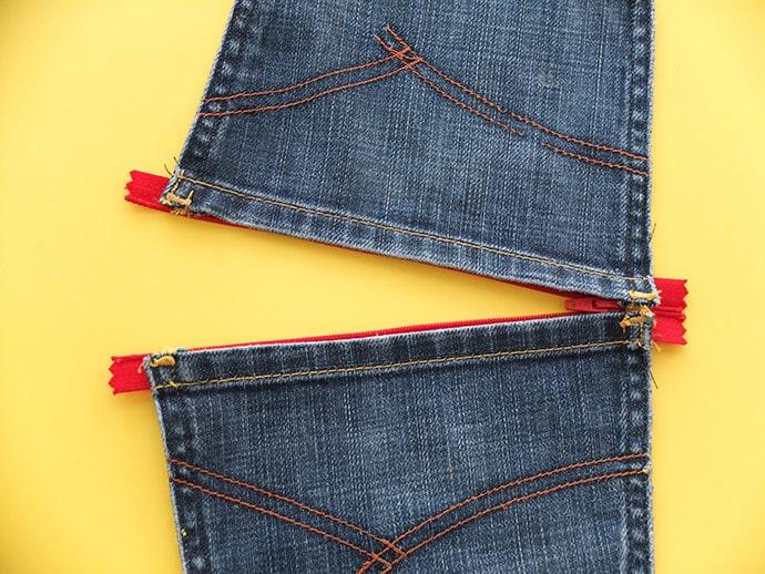 open zip pouch - how to attach zip