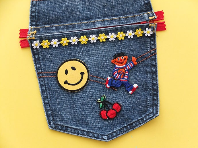 sew on patches to denim jeans