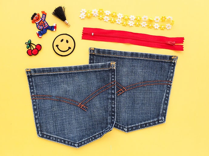 Supplies required to make a coin purse from old jean pockets - mypoppet.com.au