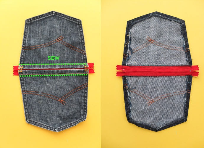 sew zipper into pocket purse