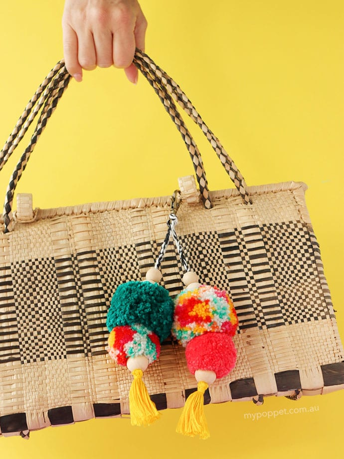 How to make a pom pom bag charm