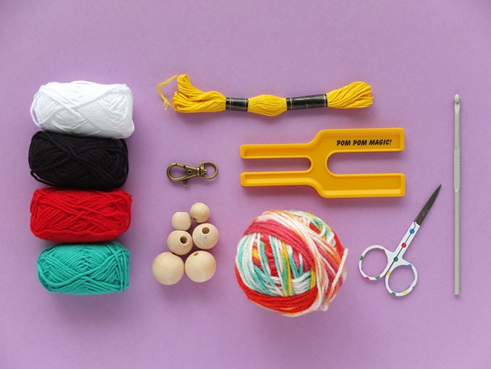 pom pom bag charm diy supplies