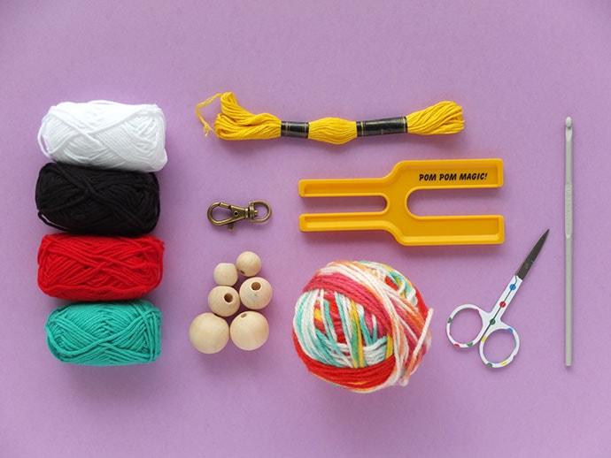 pom pom bag charm diy supplies