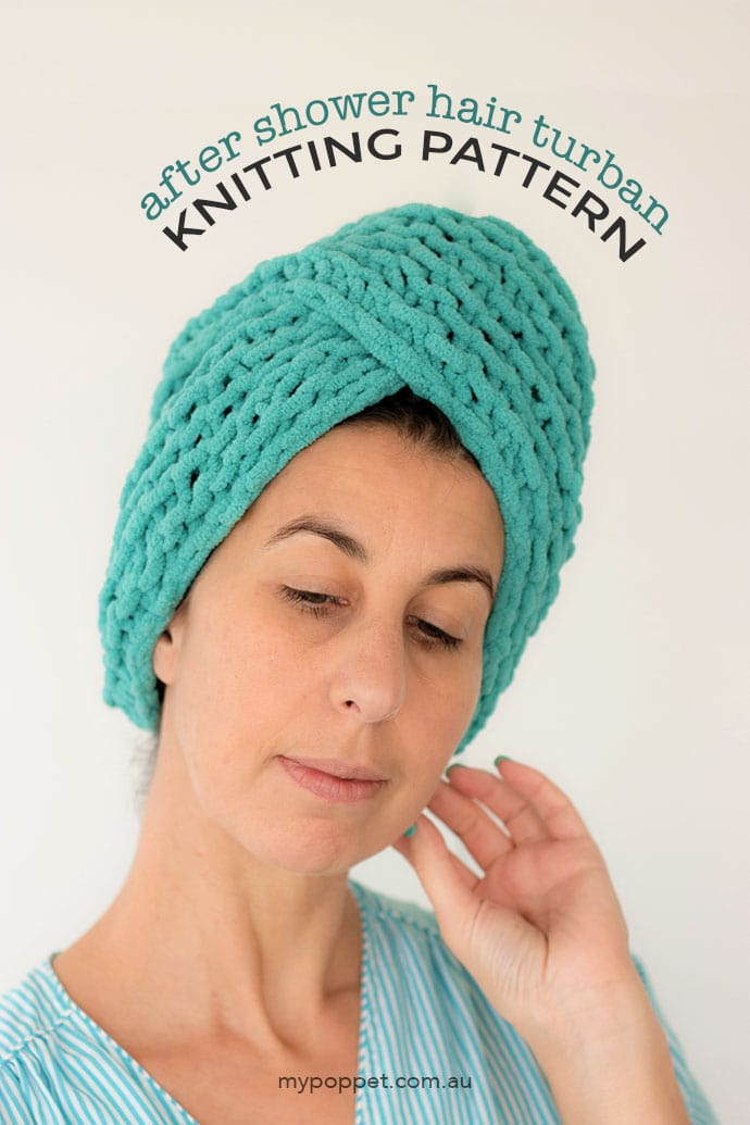 Free Knitting pattern - Microfibre hair towel turban wrap - mypoppet.com.au