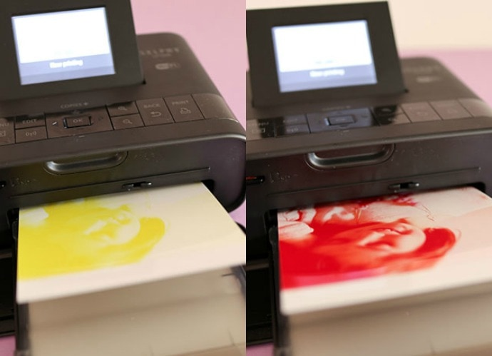 The Selphy uses dye sublimation print technology, so that means as soon as you print is finished it is instantly dry, smudge free and water resistant.