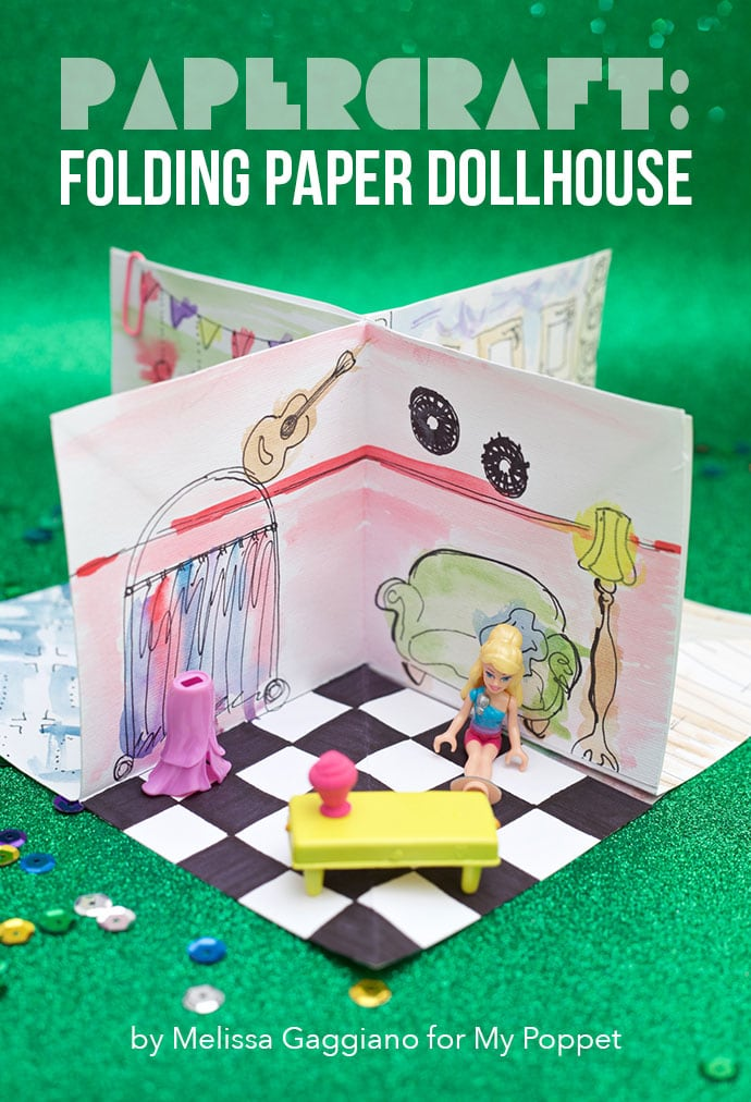 Folding paper dollhouse with template mypoppet.com.au