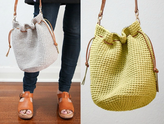 Crochet Pattern For Bucket Bag : Crochet Pattern: Drawstring Bucket Bag - My Poppet Makes