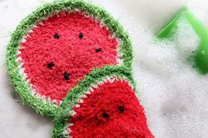 Watermelon dishcloth Crochet Pattern mypoppet.com.au