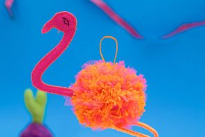 Pom-Pom Flamingo Christmas Ornament