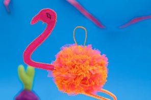 Pom-Pom Flamingo Christmas Ornament
