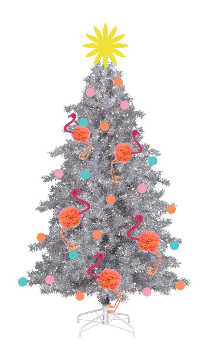 Palm Springs Christmas Theme - Flamingo Christmas Tree Ornament - mypoppet.com.au
