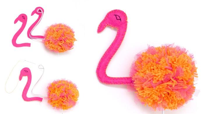 pom pom felt craft flamingo - mypoppet.com.au