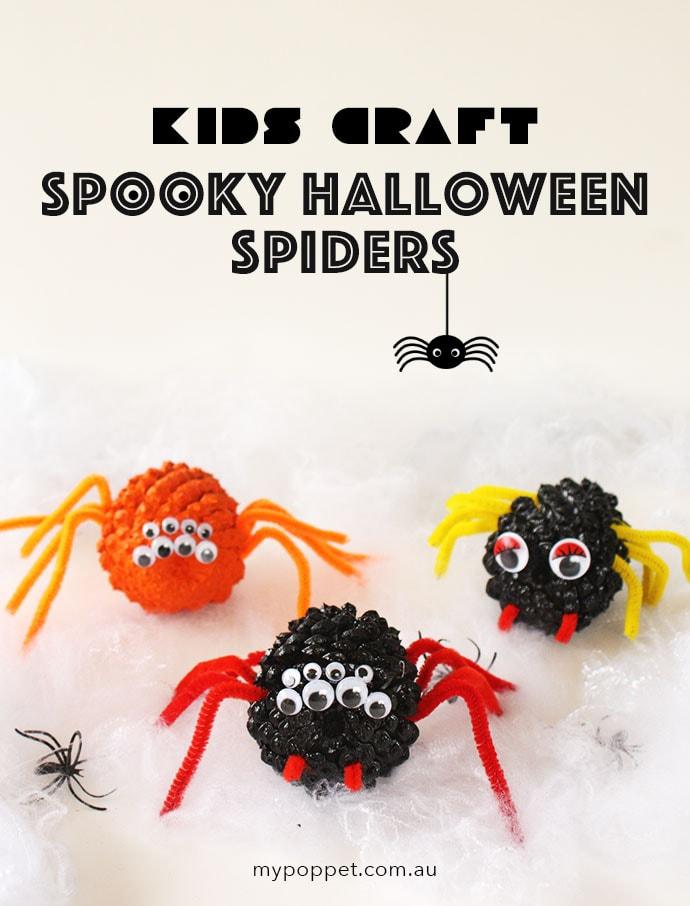 Halloween Craft - Spooky spiders made from pinecones - mypoppet.com.au
