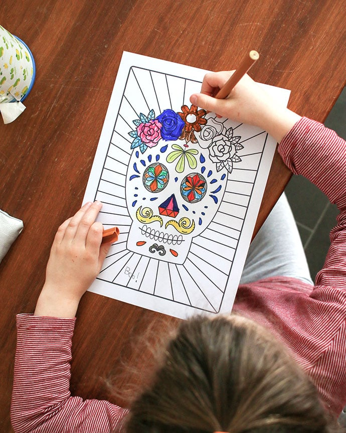 Day of the Dead printable coloring page mypoppet.com.au