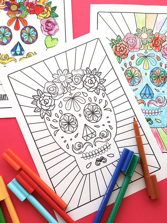 Day of the Dead Halloween Printable Coloring Page mypoppet.com.au