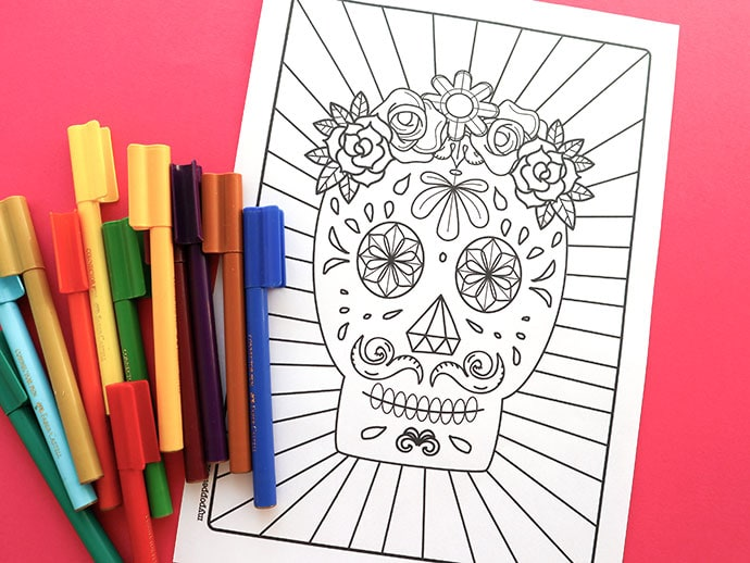 Day of the Dead Halloween Craft: Printable Sugar Skull Coloring Page mypoppet.com.au