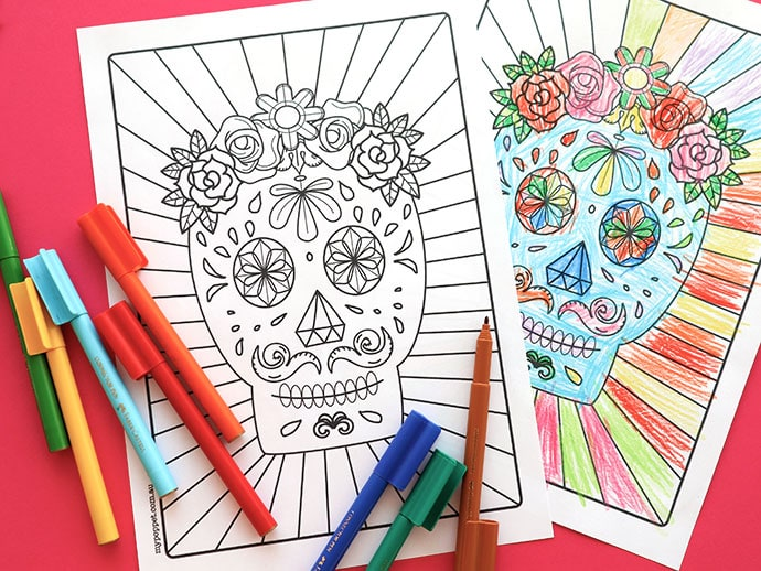 Day of the Dead Halloween Craft: Printable Calavera Coloring Page mypoppet.com.au