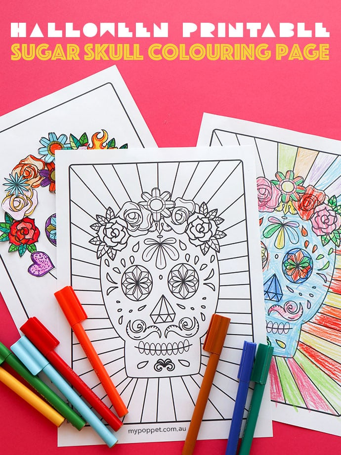 Free Halloween Printable: Day Of The Dead Sugar Skull Colouring Page My  Poppet Makes