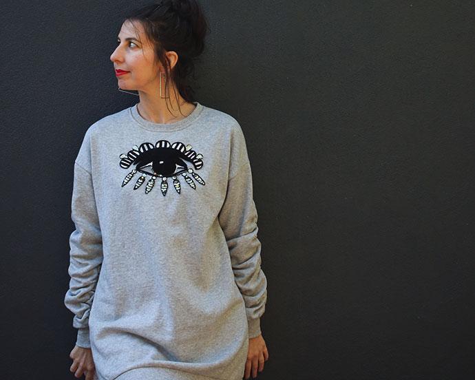 sweater dress makeover - kenzo style eye sweater