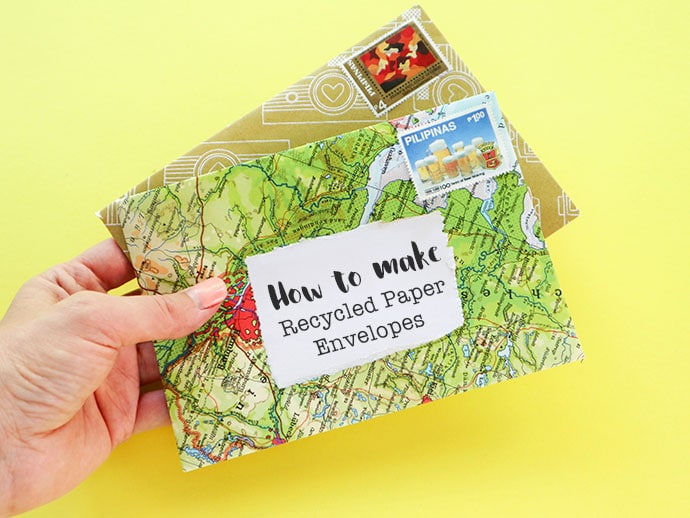 diy recycled paper envelopes with printable template my poppet makes