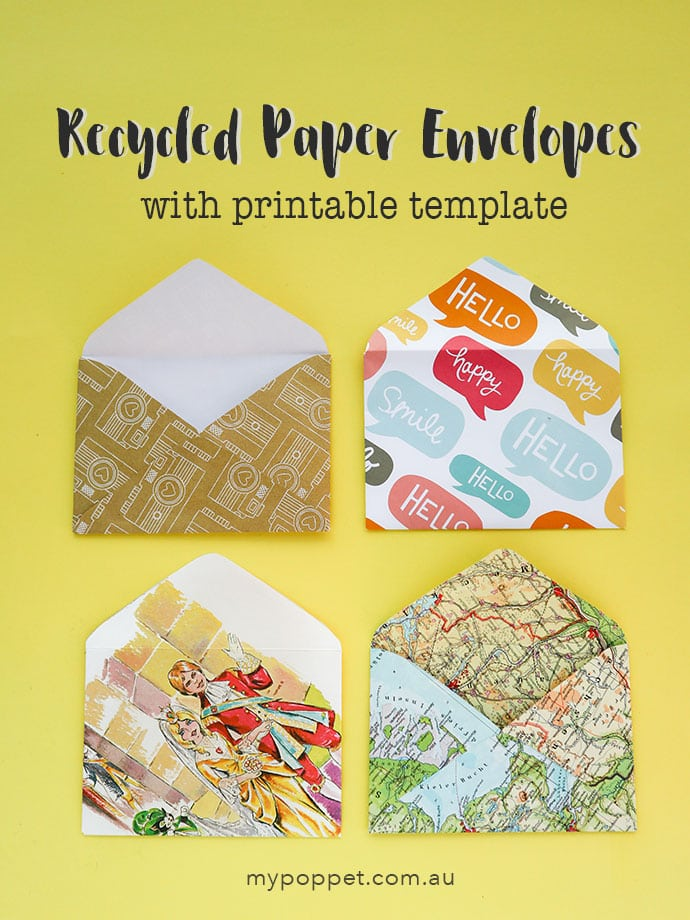 DIY recycled paper envelopes with printable template - mypoppet.com.au