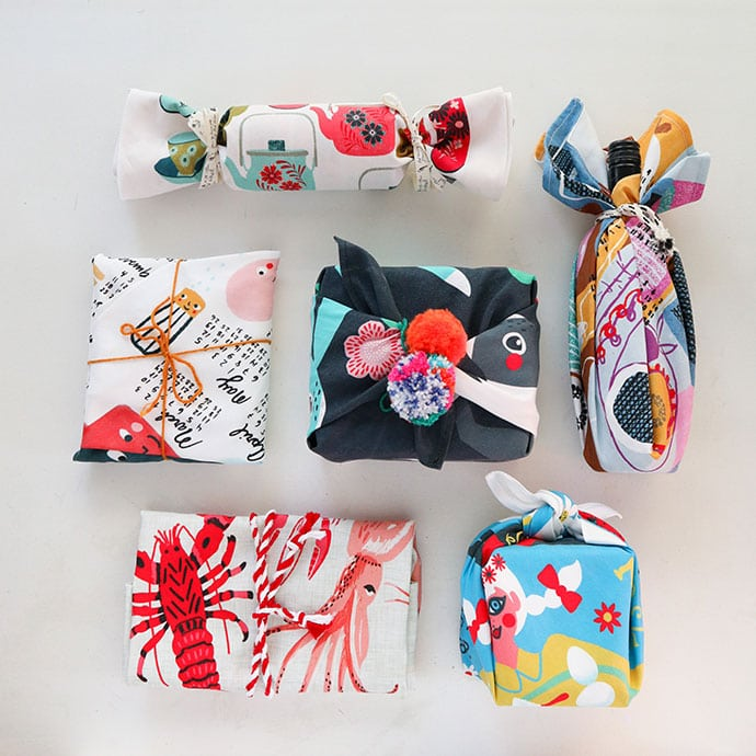 Furoshiki wrapped gift with teatowel mypoppet.com.au