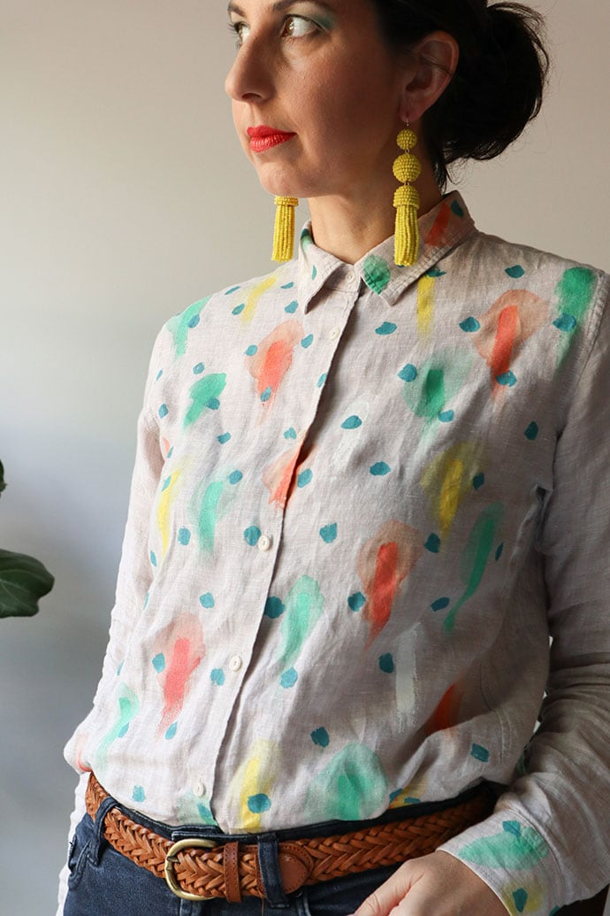 Linen shirt refashion -mypoppet.com.au