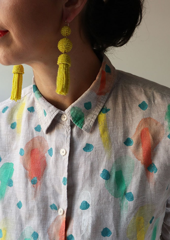 Yellow beaded tassel earings