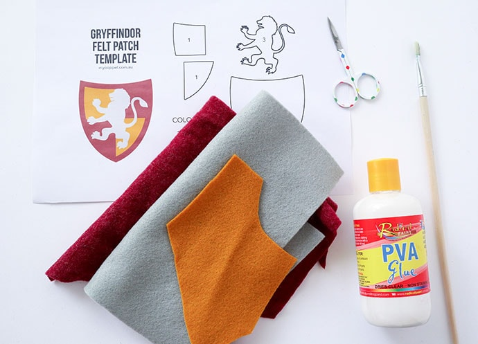 DIY Harry Potter Gryffindor Patch supplies- mypoppet.com.au