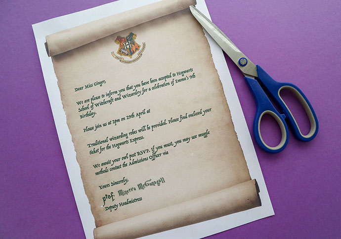 Harry Potter Party Invitation Hogwarts Acceptance Letter Mypoppetau