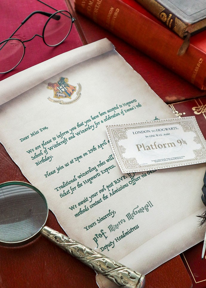Hogwarts Acceptance Letter Harry Potter Party Invitation