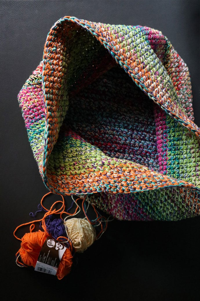 rainbow crochet basket - mypoppet.com.au
