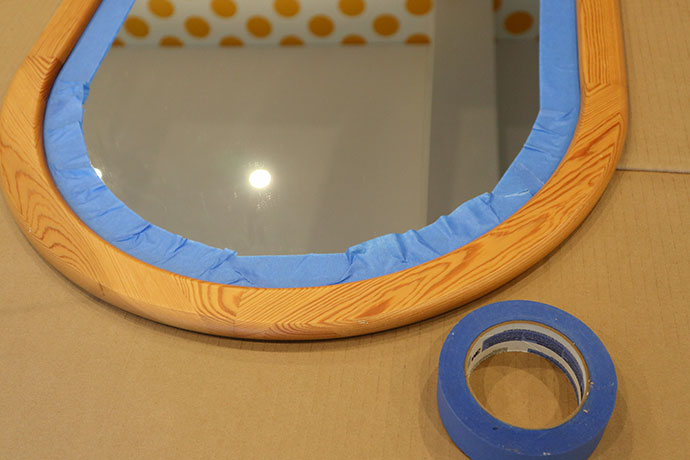 Prepare mirror with painters tape