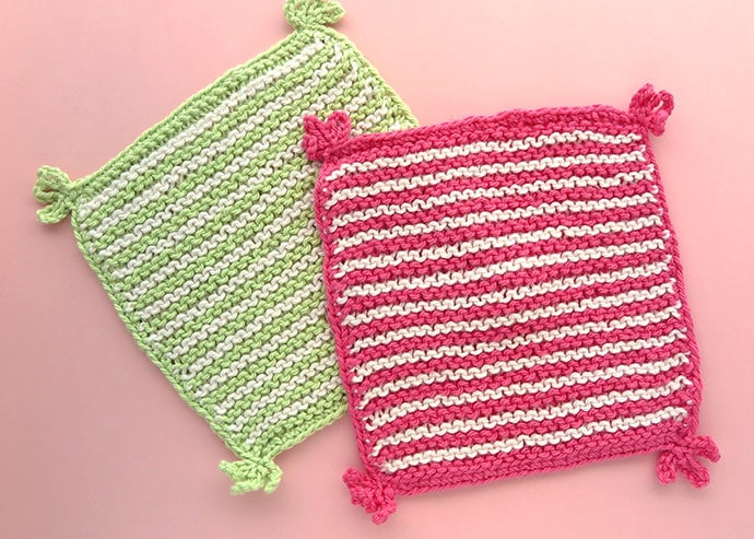 Stripe knitted washcloth pattern mypoppet.com.au