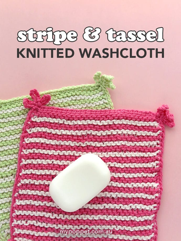 Stripe washcloth knitting pattern - mypoppet.com.au