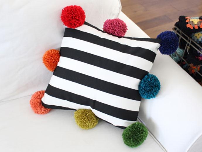 rainbow pom pom cushion - mypoppet.com.au