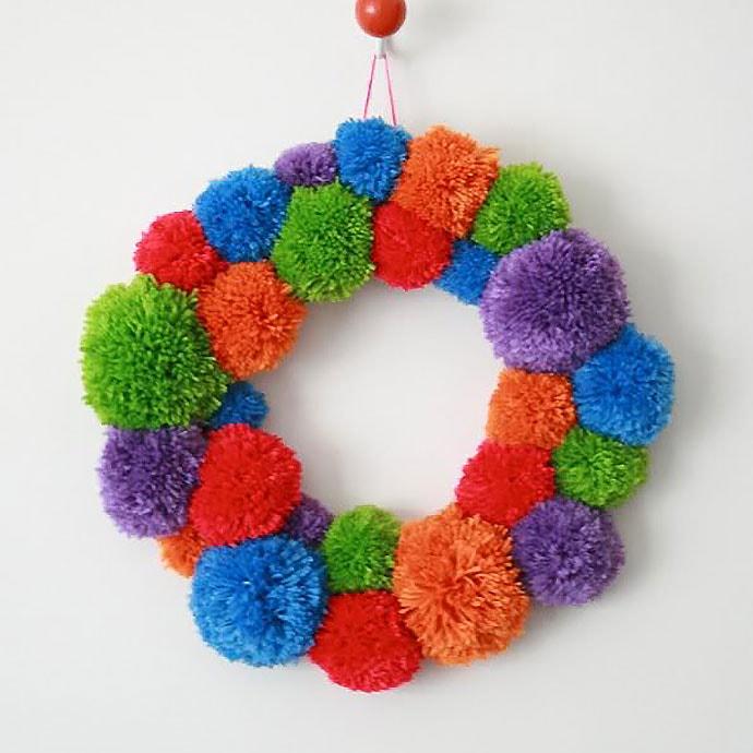 Pom pom wreath - mypoppet.com.au