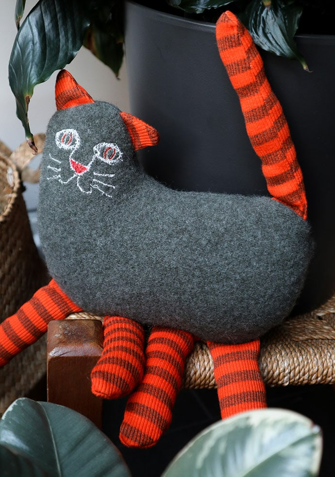 Handmade cat toy from recycled sweater - mypoppet.com.au