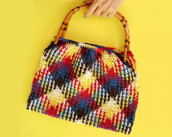 plaid Planned pooling crochet bag - red heart yarn review - mypoppet.com.au