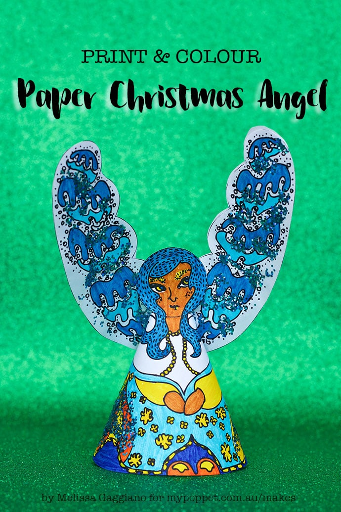 Printable Paper Angel Christmas Decoration - mypoppet.com.au