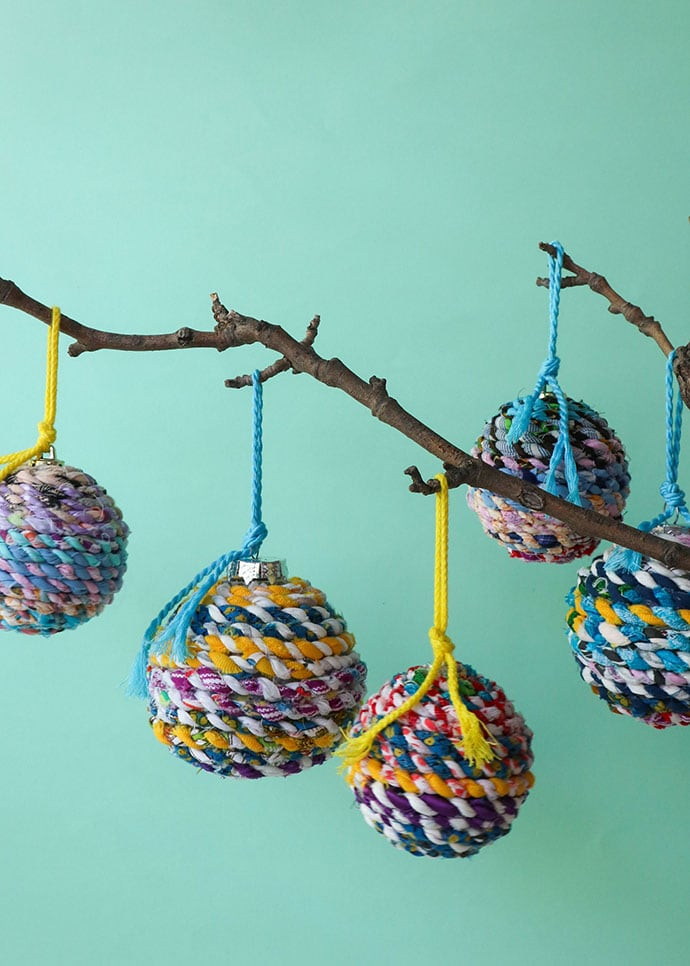 DIY Recycled twine christmas baubles - mypoppet.com.au