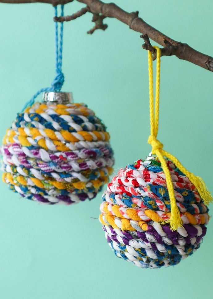 Recycled fabric christmas baubles - mypoppet.com.au